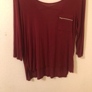 Heart & Hips Tops - 3/4 Sleeve Burgundy Fashion Top